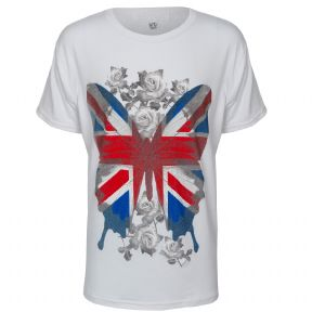 Brody & Co. Girls UK Flag Butterfly T-Shirt